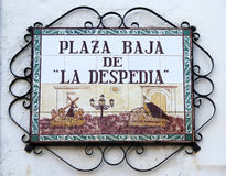 Street sign in lower square of Andalusian village Stock Images