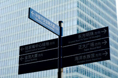 Street sign in Lujiazui Shanghai financial district Royalty Free Stock Images