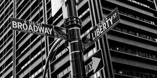 Canyon of Heroes, NYC. Street sign in Manhattan for the intersection of Broadway and Liberty Royalty Free Stock Photos