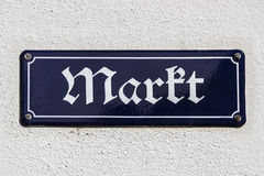 Street sign of the market place of Crimmitsch, Germany, 2015 Stock Photo