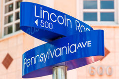 Street sign marking directions to Lincoln Road, Miami Royalty Free Stock Photography