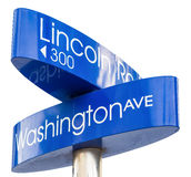 Street sign marking directions to Lincoln Road, Miami Stock Image