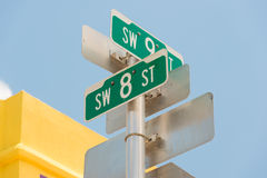 Street sign marking the 8th street in Little Havana, Miami Stock Photography