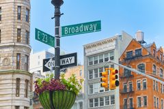 Street sign nameplate of Broadway and East 23 th Street and ur. New York, USA- September 05, 2017 : Street sign nameplate of Broadway and East 23 th Street and royalty free stock photos