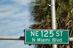 Street sign for the NE 125 ST Stock Photography