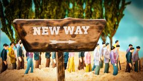 Street Sign New Way. Street Sign the Direction Way to New Way royalty free stock photo