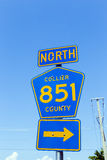 Street sign north collier route 851. Under blue sky royalty free stock photos