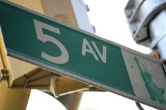 Street sign NY. 5 av street sign in NY, usa Royalty Free Stock Photo