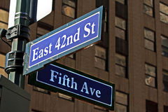 Street Sign in NYC Stock Photos