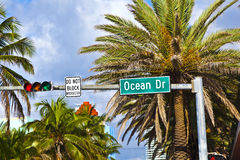 Street sign ocean drive  of famous Royalty Free Stock Image