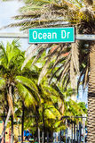Street sign at Ocean drive in Miami Stock Photos