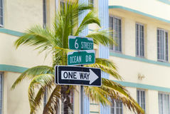 Street sign on the Ocean Drive Stock Photography