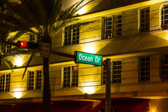 Street sign at Ocean drive in South Royalty Free Stock Images