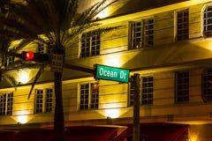 Street sign at Ocean drive in South. MIAMI BEACH - July 28: street sign at Ocean drive on July 28, 2013 in Miami Beach, Florida. Art Deco Night-Life at ocean Royalty Free Stock Image