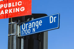 Street sign Orange Drive  in Hollywood Stock Photos