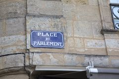 Street Sign, Parlement Square, Bordeaux Royalty Free Stock Images