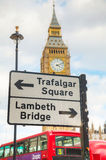 Street sign at the Parliament square in city of Westminster Stock Photos