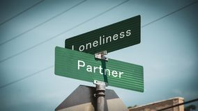 Street Sign Partner versus Loneliness. Street Sign to Partner versus Loneliness stock illustration