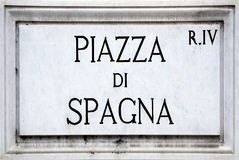 Street sign the Piazza di Spagna in Rome Stock Photos