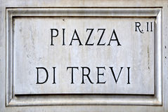 Street sign the Piazza di Trevi in Rome Royalty Free Stock Images