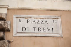 Street sign the Piazza di Trevi in Rome Royalty Free Stock Photography