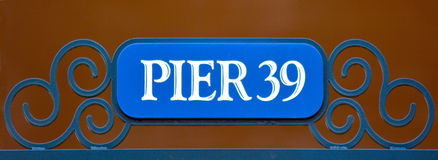 Street sign of Pier 39 in Fisherman Wharf San Francisco Royalty Free Stock Images