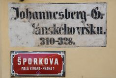 Street sign in Prague, Czech republic. Old and new Street sign in Prague, Czech republic Royalty Free Stock Photos