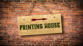 Street Sign PRINTING HOUSE. Street Sign the Direction Way to PRINTING HOUSE stock image
