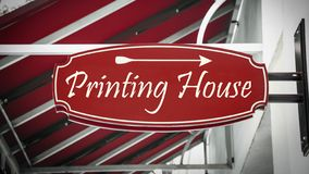 Street Sign PRINTING HOUSE. Street Sign the Direction Way to PRINTING HOUSE stock photos