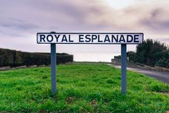 Street sign for the Royal Esplanade public promenade, Ramsgate,. The street sign for the public Royal Esplanade promenade along the sea front in Ramsgate, Thanet Royalty Free Stock Photos