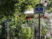 Street sign renamed as rue Camille Claudel, Paris, France Stock Image