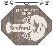 Street sign for restaurant or shop with lobster. Vector street signboard or banner for seafood restaurant or shop with the silhouette of a lobster and Stock Photos