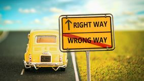 Street Sign to RIGHT WAY versus WRONG WAY. Street Sign RIGHT WAY versus WRONG WAY royalty free stock photography