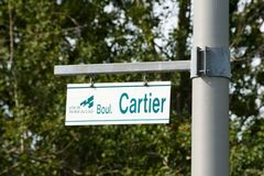 Street Sign - Riviere-Du-Loup - Quebec Royalty Free Stock Photos