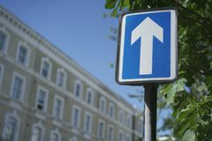 Street sign on the road in London. Sign stands near trees and building. White up arrow Stock Images