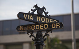 Street sign for Rodeo Drive, Beverly Hills, CA Stock Images