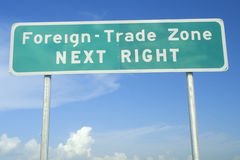 Street sign saying Foreign-Trade Zone Royalty Free Stock Image