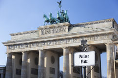 Street sign saying Pariser Platz. Brandenburger Tor. Berlin, Germany. Stock Photography