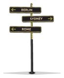 Street sign showing cities Royalty Free Stock Photo