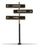 Street sign showing cities Stock Images