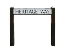 Street sign showing the way to heritage Stock Photo