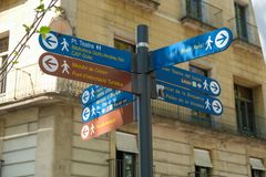Multidirectional street sign stock photography