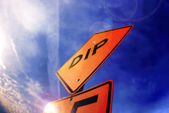 Street sign and sky. Photo of street sign with blue sky Stock Photo