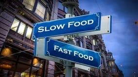 Street Sign Slow versus Fast Food. Street Sign the Direction Way to Slow versus Fast Food stock photography
