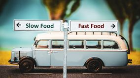 Street Sign Slow versus Fast Food. Street Sign the Direction Way to Slow versus Fast Food royalty free stock photo