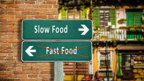 Street Sign Slow versus Fast Food. Street Sign the Direction Way to Slow versus Fast Food royalty free stock photography