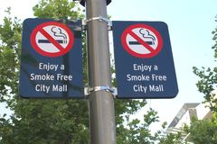 Street signboards of a smoke-free City Mall in Australia. Street sign of smoke free City Mall in Australia. For instance smoking is forbidden in the Murray city Stock Image
