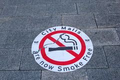 Street sign of smoke-free city malls in Australia. For instance smoking is forbidden in the Murray city mall in the city center of Perth, Western Australia Stock Image