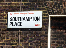 Street sign of Southampton place in Borough of Camden at Central London, United Kingdom. Street sign of Southampton place in Borough of Camden at Central London Royalty Free Stock Photo