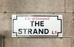 Street sign of The Strand, City of Liverpool Stock Images